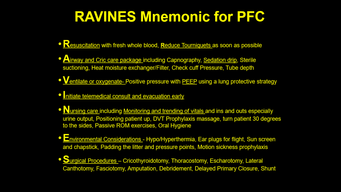 RAVINES Mnemonic: A Practical Approach to Prolonged Field Care